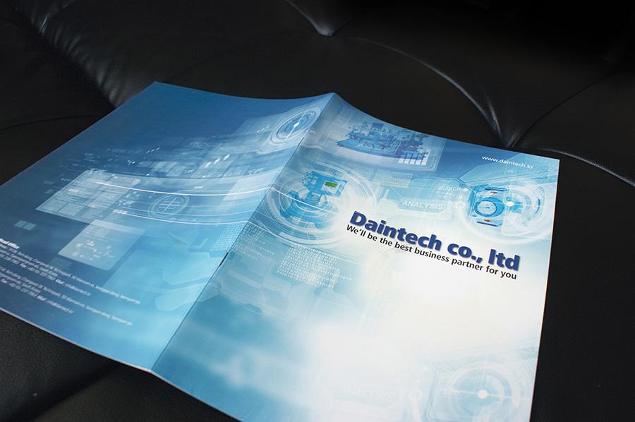 다인테크기업제품 카타로그 제작의뢰는? 제품카탈로그 디자인 편집 제작 전문업체 더레이아웃 입니다
